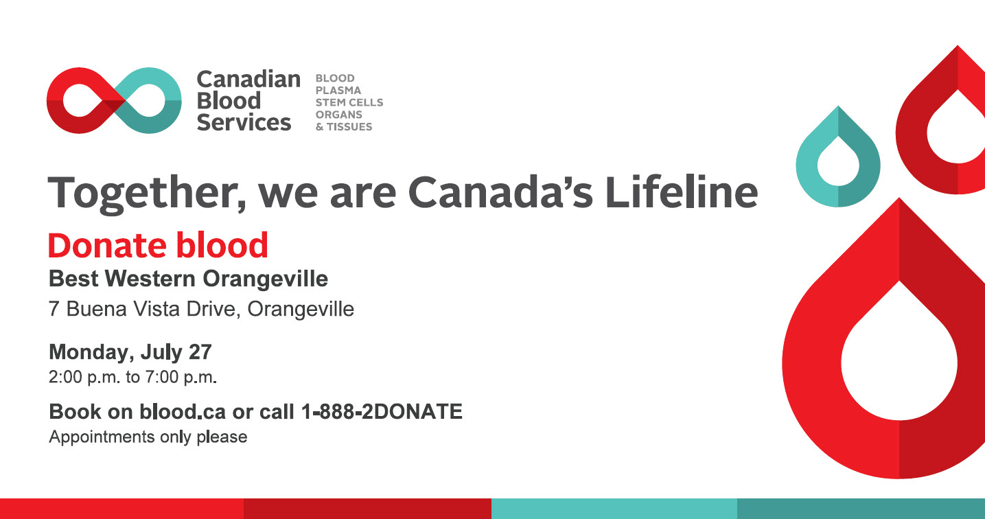Canada Blood Services July 27 event poster