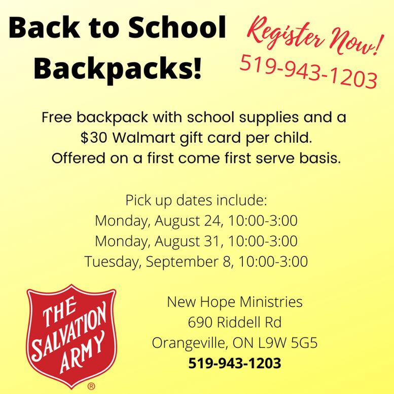 Salvation Army Backpack Flyer