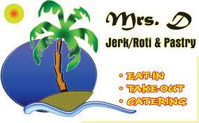 Mrs D Jerk Roti Pastry Logo