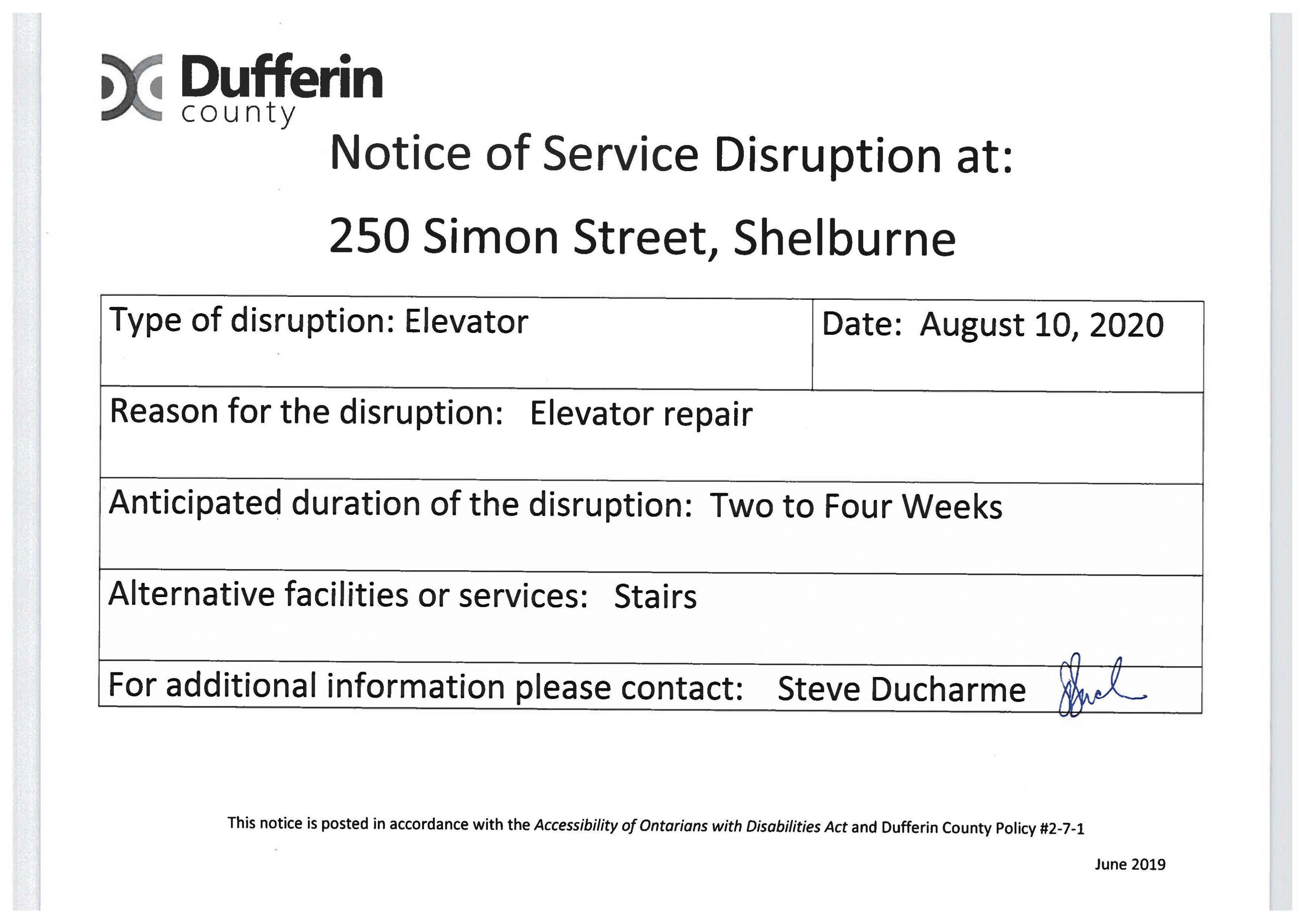 Elevator Disruption Notice