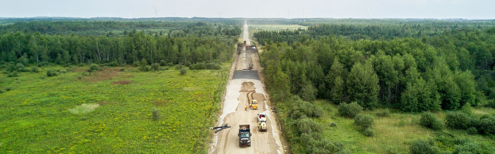 aerial view of road construction