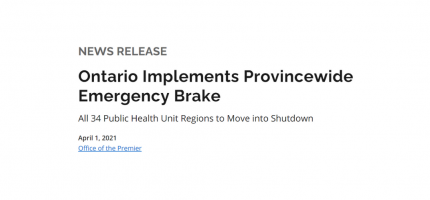 Banner announcing Provincewide Emergency Brake from Government of Ontario